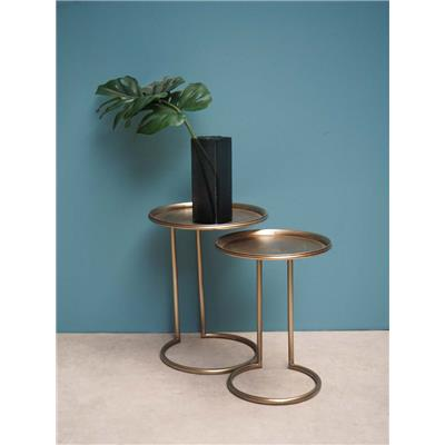 "SET DE DEUX TABLES D'APPOINT EN MÉTAL ""ECLIPSE"